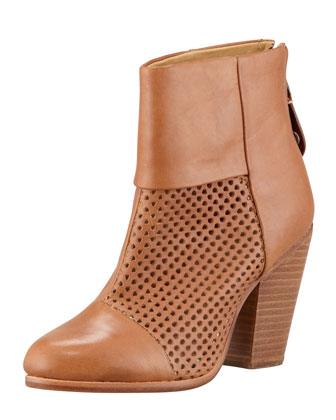 Newbury Perforated Leather Bootie, Tan