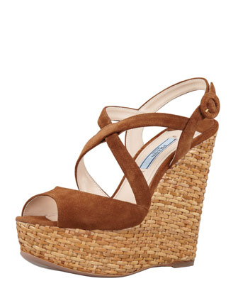Suede Crisscross Wicker Wedge Sandal, Tobacco