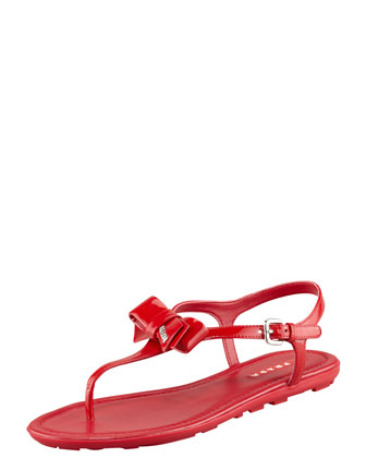 Patent Leather Bow Thong Sandal, Red