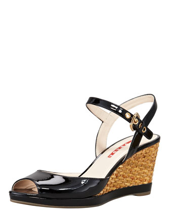 Patent Open-Toe Wicker Wedge Sandal, Black