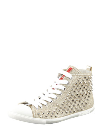 Studded Glitter High-Top Sneaker Gold
