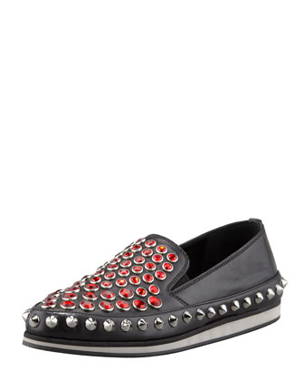 Jewel-Stud Slip-On Sneaker, Black/Red