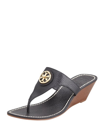 Tory Burch Selma Logo Wedge Thong Sandal,