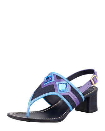 Etta Embellished Low-Heel Thong Sandal