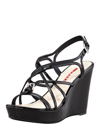 Patent Strappy Buckled Wedge Sandal