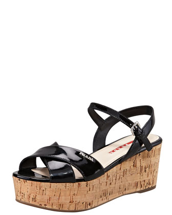 Patent Crisscross Wedge Sandal, Black