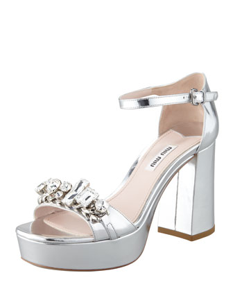Jeweled Metallic Sandal, Silver