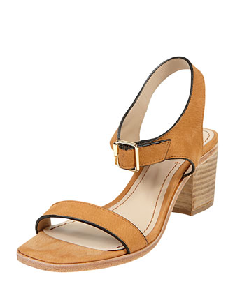 Ryann Tipped Leather Mid Sandal, Cognac