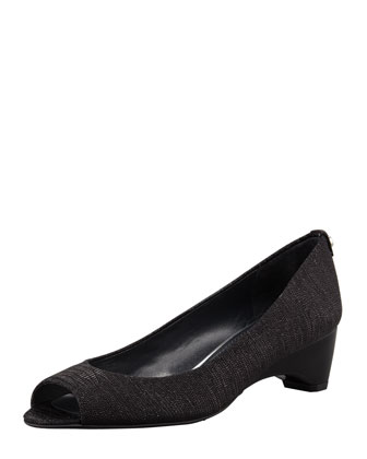 Lizette Demi-Wedge Peep-Toe Pump, Black