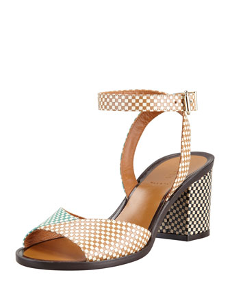 Joker Check Leather Ankle-Wrap Sandal, Green/Tan