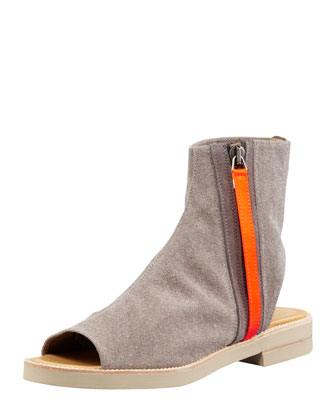 Flat Cotton Canvas Cutout Bootie