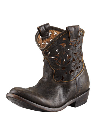 Laser-Cutout Ankle-High Boot, Black