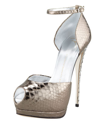 Metallic Snake-Print Ankle-Wrap Pump