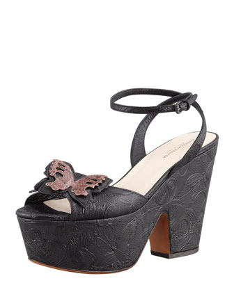 Butterfly-Embossed Ankle Wrap Platform Wedge Sandal
