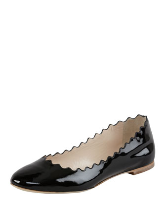 Wavy Patent Leather Ballerina Flat, Black