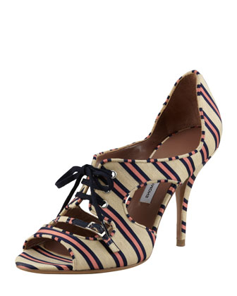 Bertie Lace-Up Cutout Striped Pump