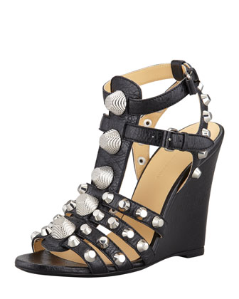 Giant Nickel Studded T-Strap Wedge, Black