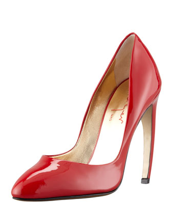 Bowed-Heel Patent Leather Pump, Red