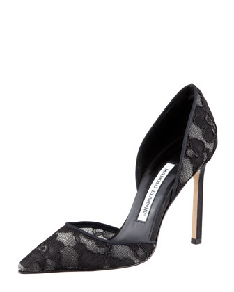Tayler Lace Pointed d'Orsay Pump, Black