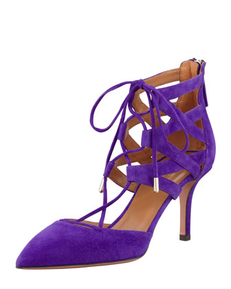 Belgravia Lattice Suede Sandal, Purple