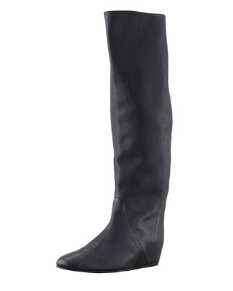 Leather Wedge Knee Boot, Dark Black