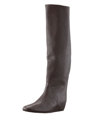 Leather Wedge Knee Boot, Dark Brown