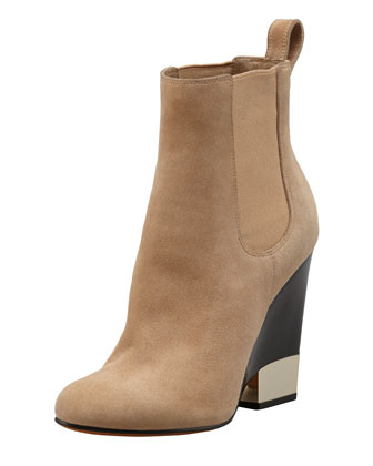 Suede Metal-Tip Wedge Ankle Boot