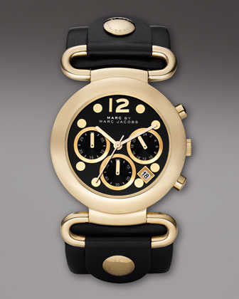 MARC by Marc Jacobs Molly Chronograph Watch, Black-Golden