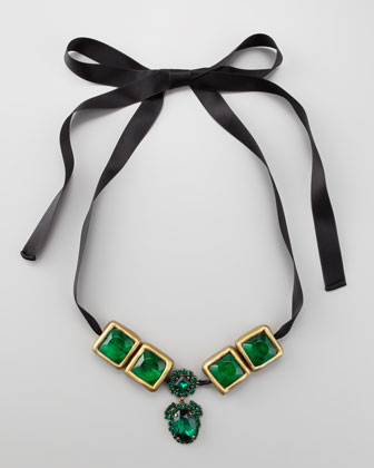 Crystal-Drop Ribbon Necklace