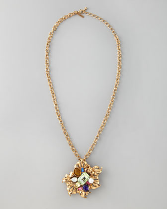Multicolor Brooch-Pendant Necklace