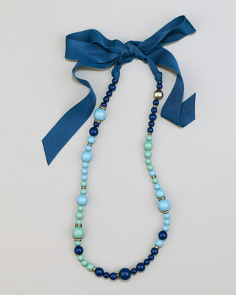 Beaded Ribbon Necklace, Turquoise