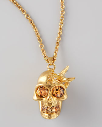 Hummingbird Skull Pendant Necklace