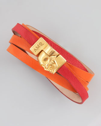 Two-Tone Leather Wrap Bracelet, Red/Orange