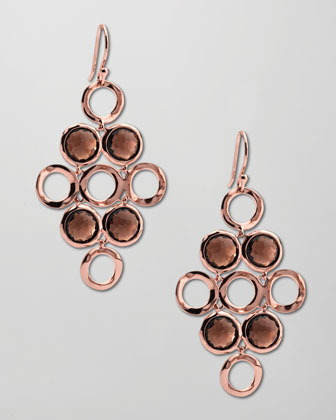 Smoky Quartz Rose Gold Cascade Earrings