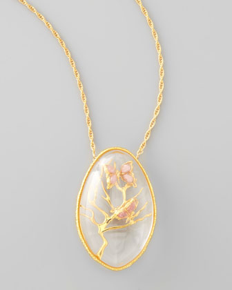 Floral Butterfly Pendant Necklace