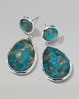 Wonderland Snowman Turquoise Drop Earrings, 1 1/3