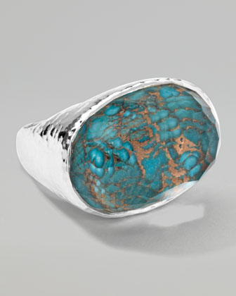 Wonderland Silver Turquoise Oval Ring