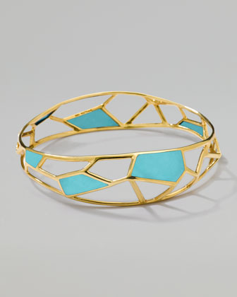 Polished Rock Candy Mosaic Bangle, Turquoise