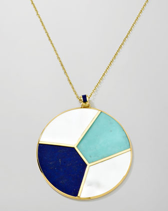 Gold Rock Candy Mosaic Pendant Necklace, 36