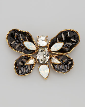 Multi-Stone Butterfly Brooch, Black