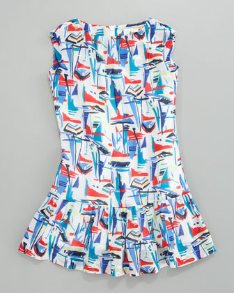 Devin Drop-Waist Sailboat Dress, Sizes 2-6