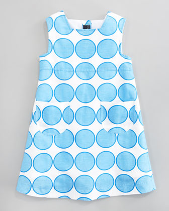 Blue Dot Linen A-line Dress