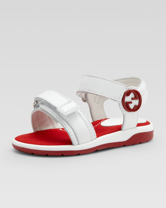 Rebound Beach Sandal, White/Red
