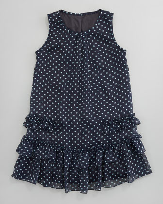 Dotted Chiffon A-Line Dress
