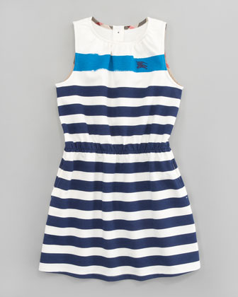 Bold Stripe Terry Dress, Ink Blue