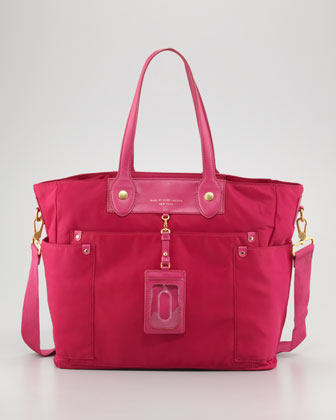 Eliz-A-Baby Preppy Nylon Diaper Bag, Fuchsia